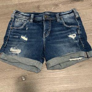 Silver Jeans 8 AM Shorts Distressed Denim Shorts